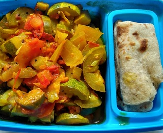 Chapathi with a salad sabzi, Healthy and colorful lunch box
