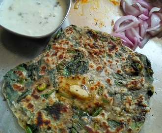 Easy Spinach Paratha With Curd, Pickle and Marinated Onions