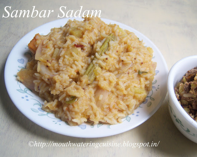 Sambar Sadam Recipe -- South Indian Sambar Rice -- How to make Sambar Sadam Recipe