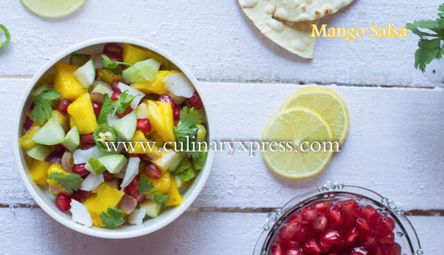 Mango Pomegranate & Tender Coconut Salsa- How to make easy Salsa Recipe for Summer Picnic