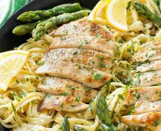 Lemon Asparagus Pasta with Grilled Chicken