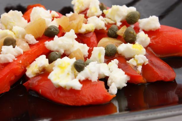 Roasted Red Peppers With Feta, Capers and Preserved Lemons