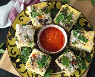 Bread Dhokla |Sandwich Dhokla | Instant Bread Dhokla | No Cook Bread Dhokla | Quick and Easy Recipe | Stepwise Pictures