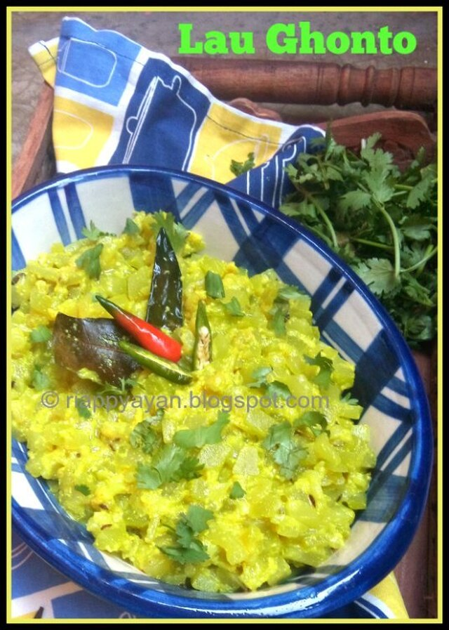 Lau Ghonto and Lau-er Khosa Charchari ~ Two Bengali Veg dish of Bottle Gourd