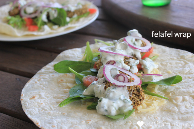 Quick and easy felafel wrap with mint and cucumber yogurt.