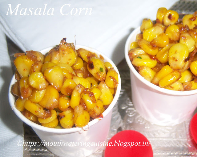Masala Corn -- Sweet Corn Chat Recipe -- How to make Masala Corn