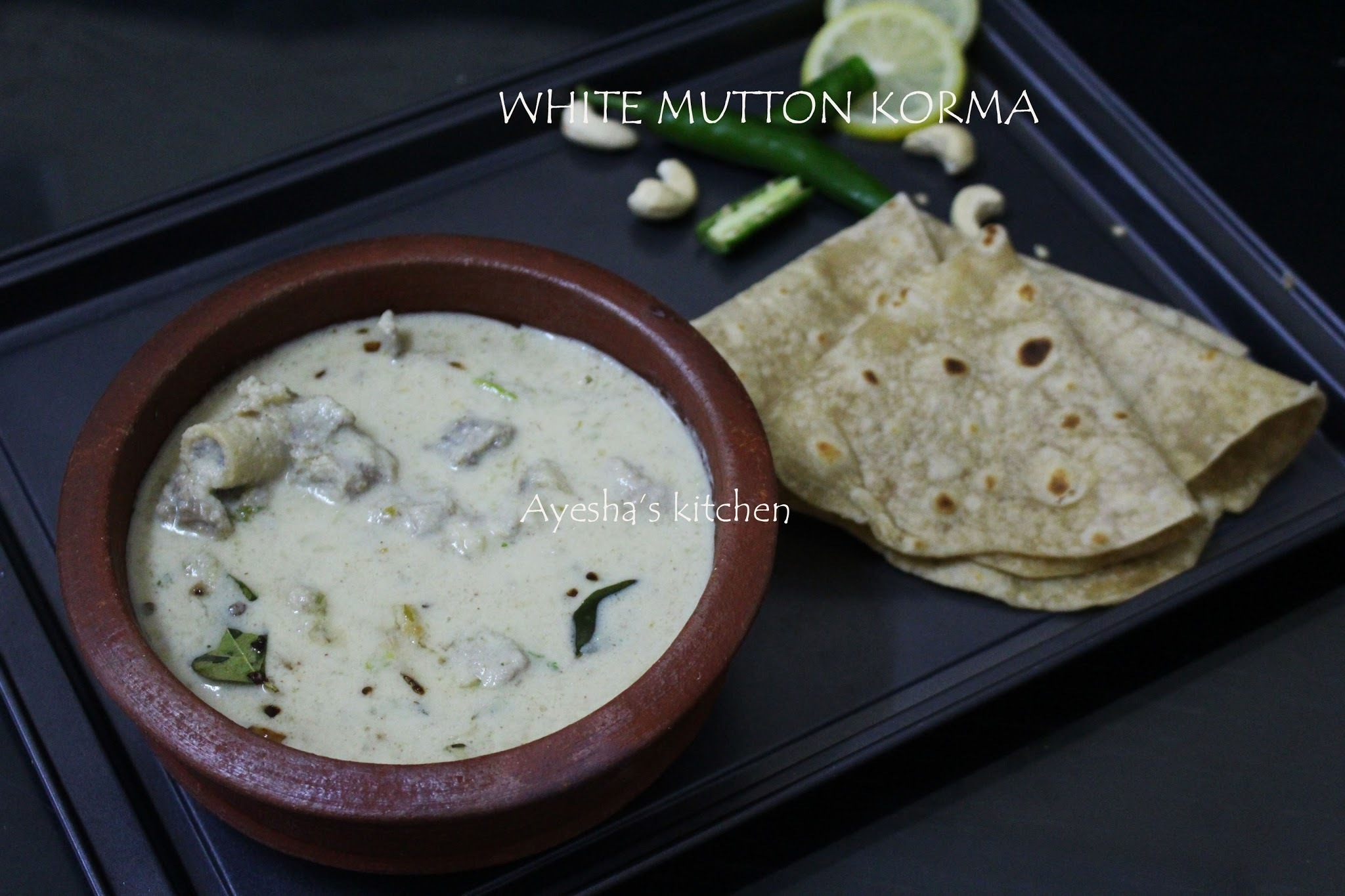 MUTTON RECIPES - WHITE MUTTON KORMA