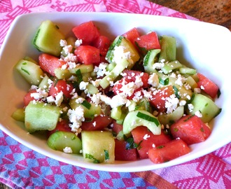 Cucumber Melon Salad with Lime, Mint and Feta