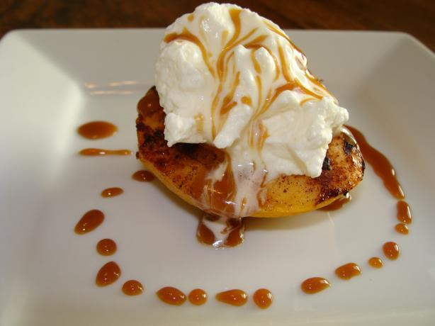 Grilled Peaches with Whipped Cream and Caramel