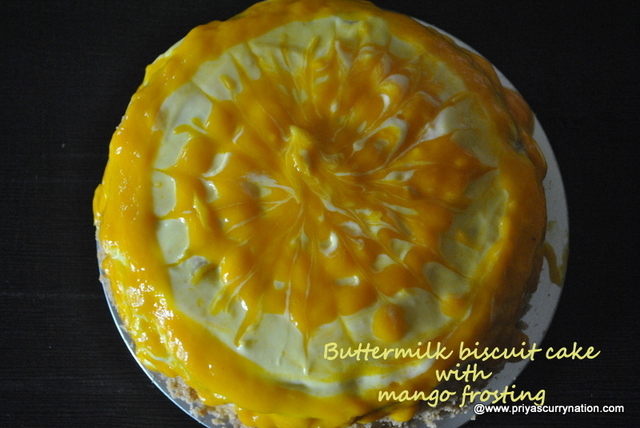 Buttermilk Biscuit cake recipe with mango frosting, how to make biscuit cake using condensed milk