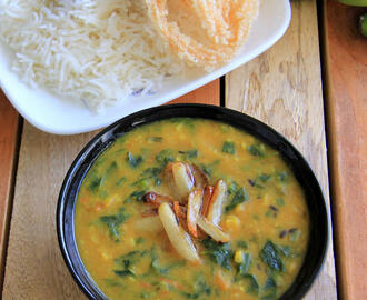 Methi Garlic dhal with spring onion recipe - Dal Methi Lasooni recipe - Healthy side dish recipe