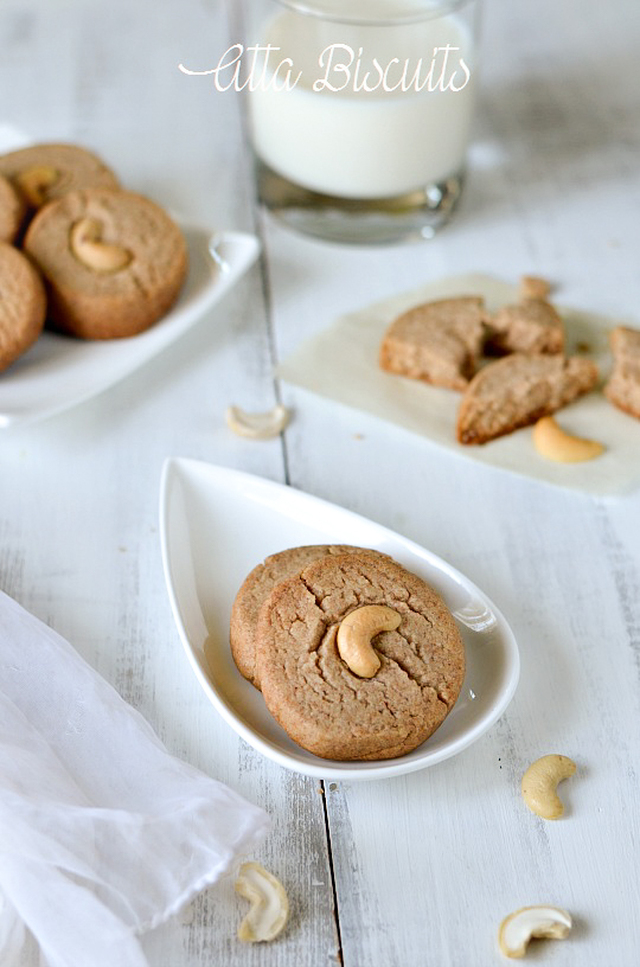Atta Biscuits /Whole Wheat cookies/Eggless Whole Wheat Cookies