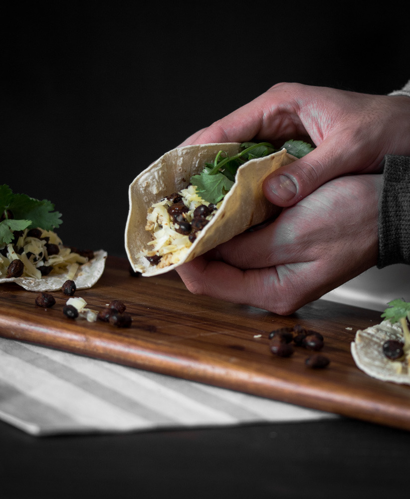 Scrambled Egg and Spiced Black Bean Breakfast Taco
