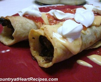 Baked Beef and Black Bean Flautas