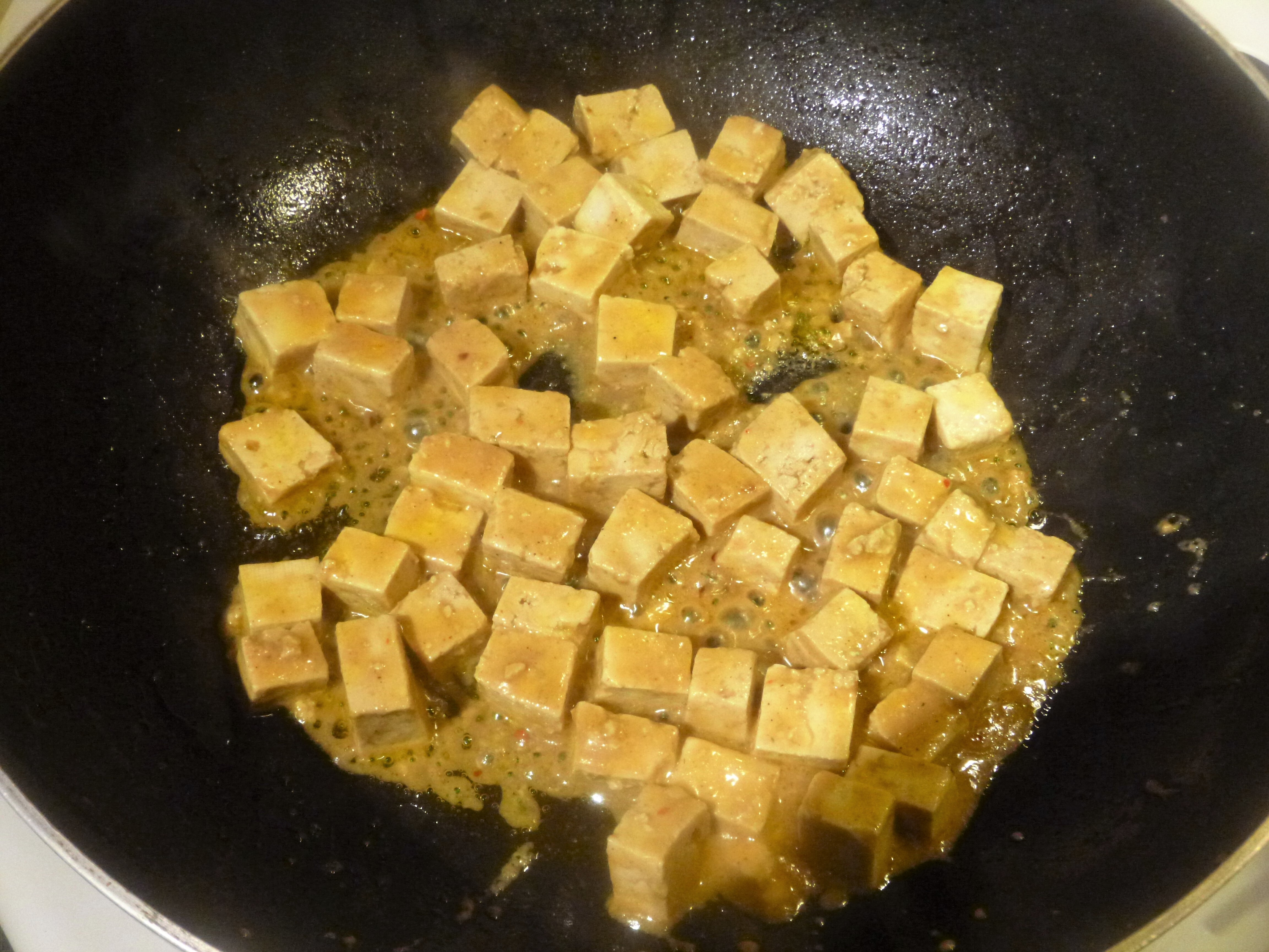 Marinated Tofu Stir Fry with Swiss Chard, Mushrooms and Miso Sauce Recipe