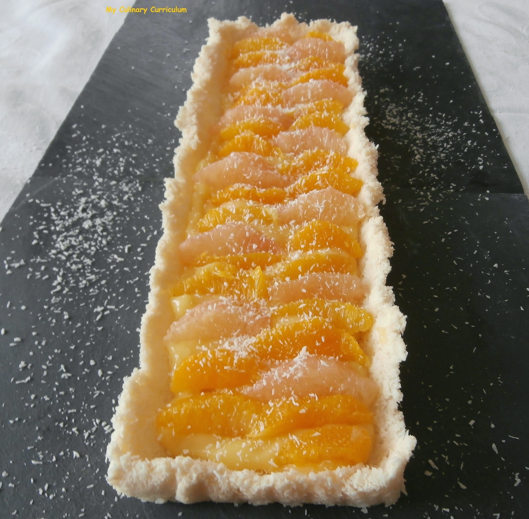 Tarte aux agrumes, noix de coco et lemon curd (Tart citrus, coconut and lemon curd)