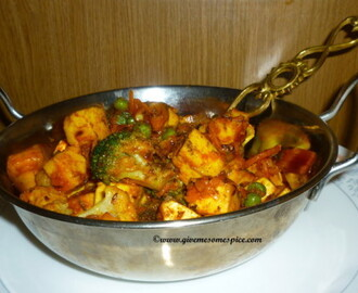 Paneer and mixed vegetables stir fry