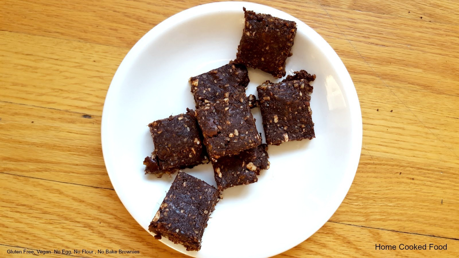 Gluten Free, Vegan  No Egg, No Flour , No Bake Brownies