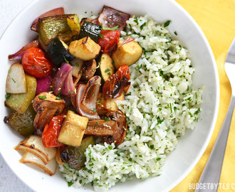 Broiled Balsamic Vegetables with Lemon Parsley Rice