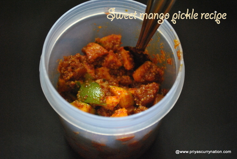 Instant Sweet mango pickle,how to make mitha keri achar