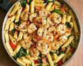 Tomato Spinach Shrimp Pasta