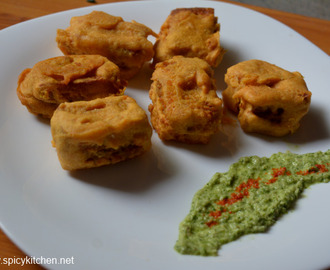 Bread Baji | Stuffed bread fritters with step by step pictures