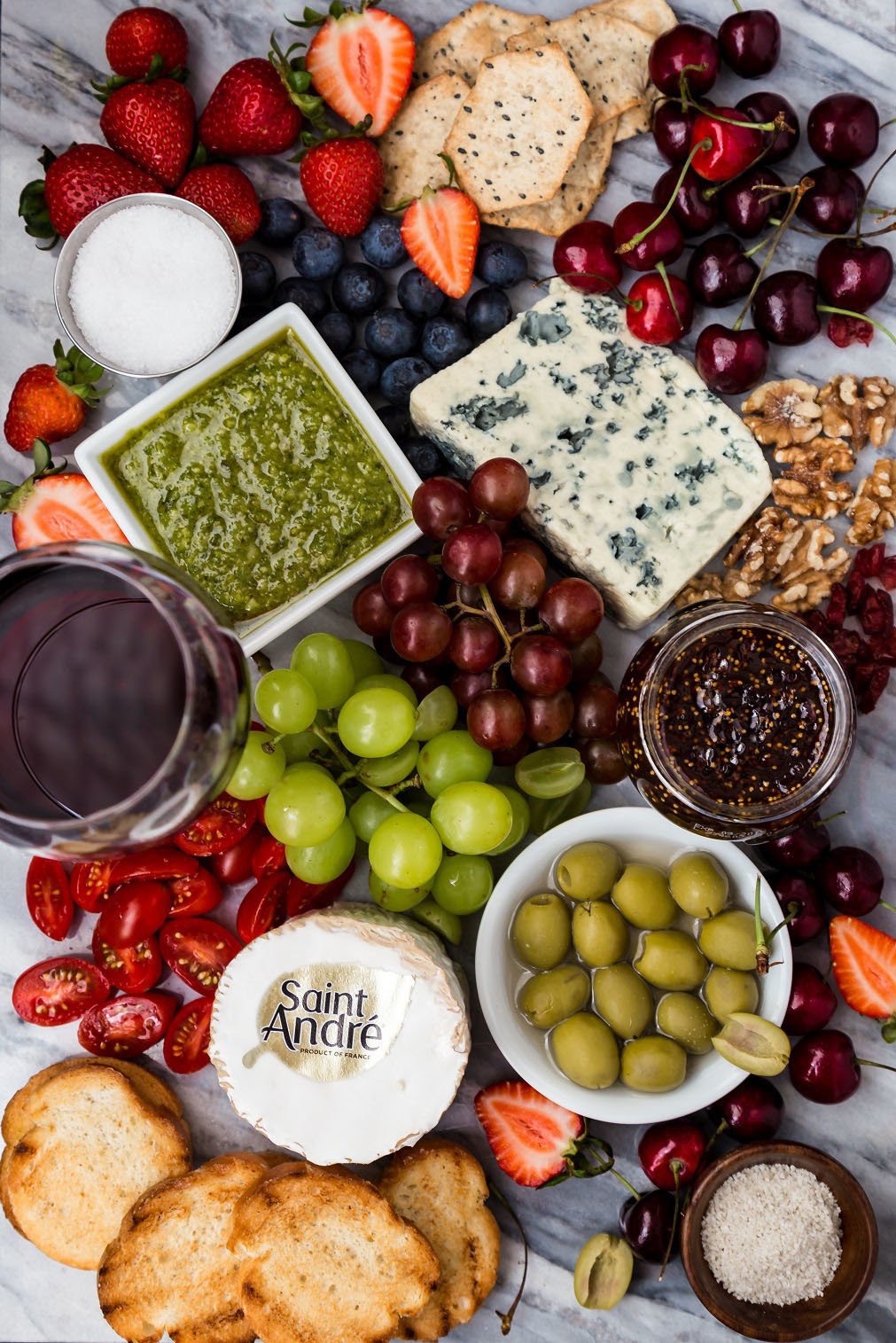Easy Summer Cheeseboard with French Wine and Cheese