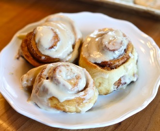 Cinnamon Rolls with Maple Butter Cream Cheese Icing