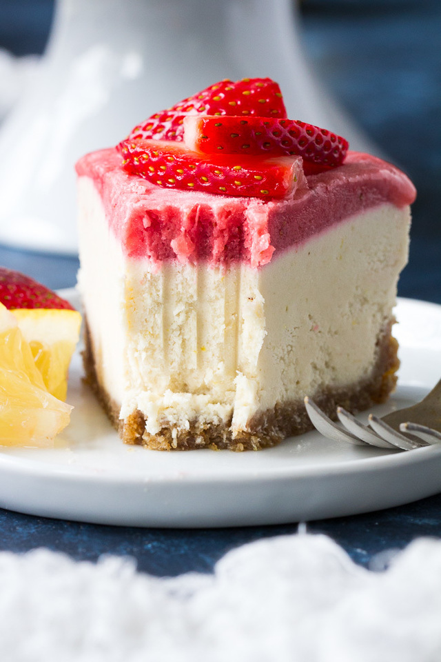 No-Bake Lemon Strawberry Paleo & Vegan Cheesecake {GF, DF}