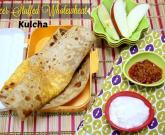 Paneer Stuffed Wheat Kulcha ~ Healthy Kids Lunch Box Recipe