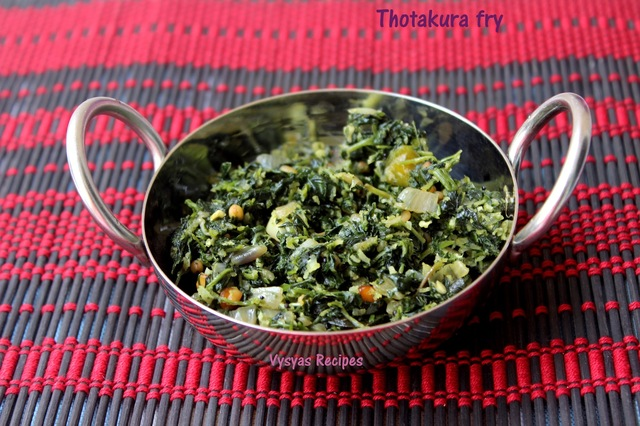 Thotakura fry - Keerai Poriyal -  Amaranth leaves stir fry