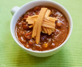 "Vegan ""Doni"" Chili with Ste Martaen Vegan Colby Cheese"