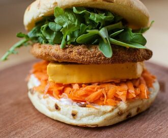 Vegan Chicken Burger with Ste Martaen Vegan Smoked Gouda Cheese