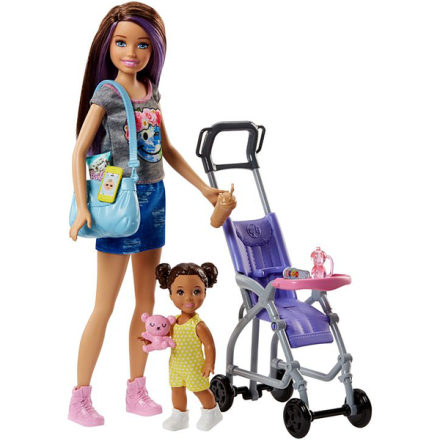 Barbie skipper babysitter - barnvagn playset - barbie docka