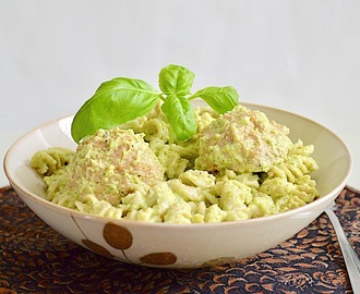 Turkey Meatballs with Zucchini Pesto Pasta