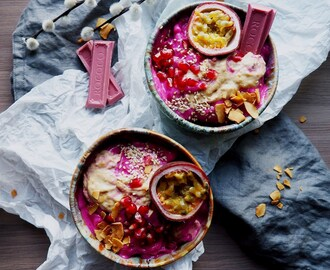 Pink Tuesday Smoothie Bowls with Passionfruit, Pink Chocolate and Pomegranate