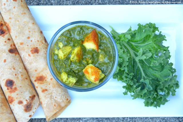 Kale paneer - kale and cheese cubes in a mild creamy curry