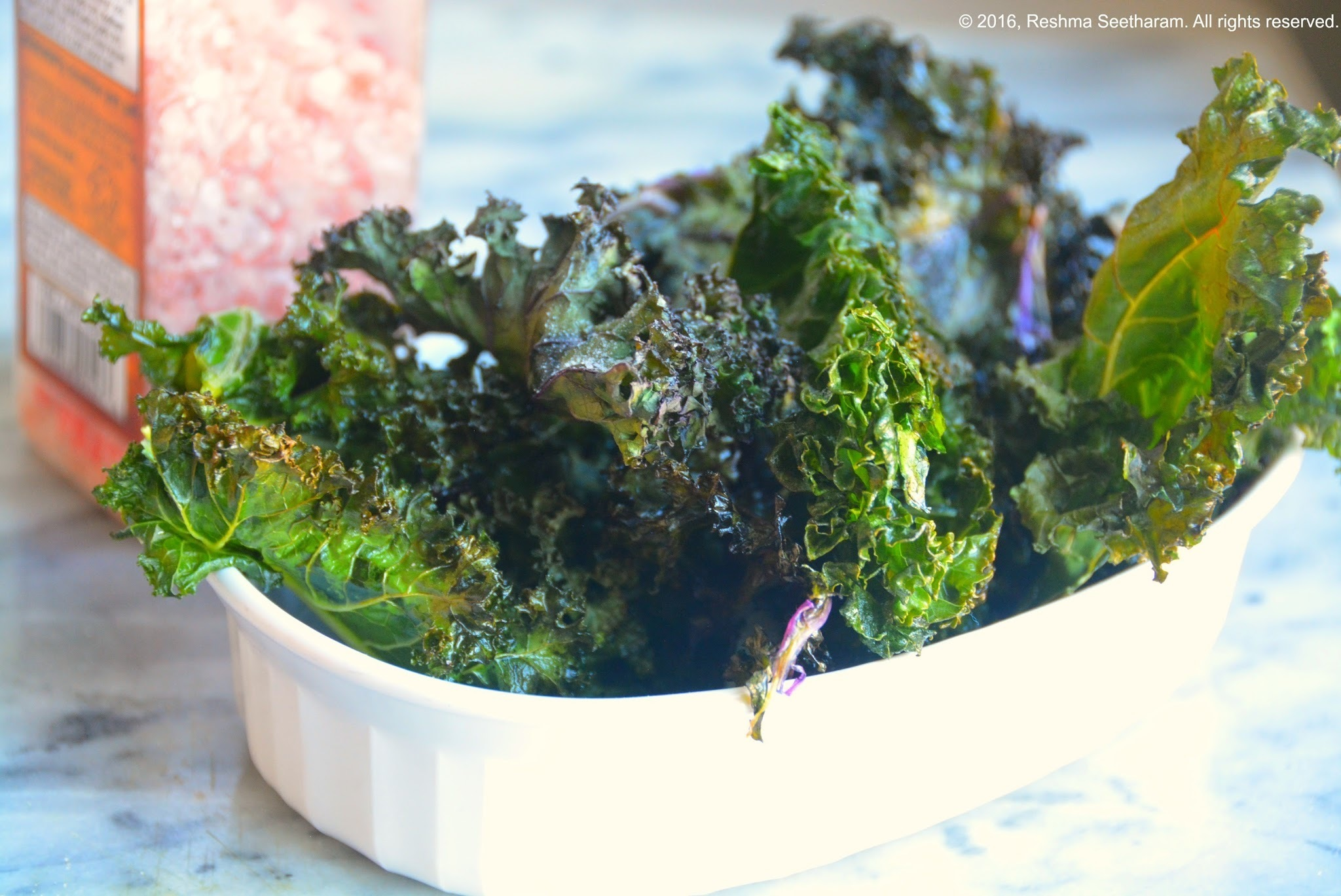 Kale chips seasoned with raspberry chipotle powder