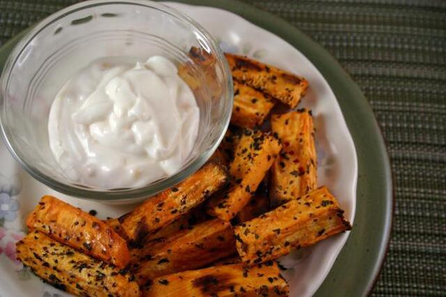 Sweet Potato Fries With Basil Salt and Garlic Mayonnaise
