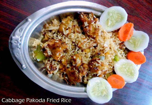 Cabbage Pakoda Fried Rice