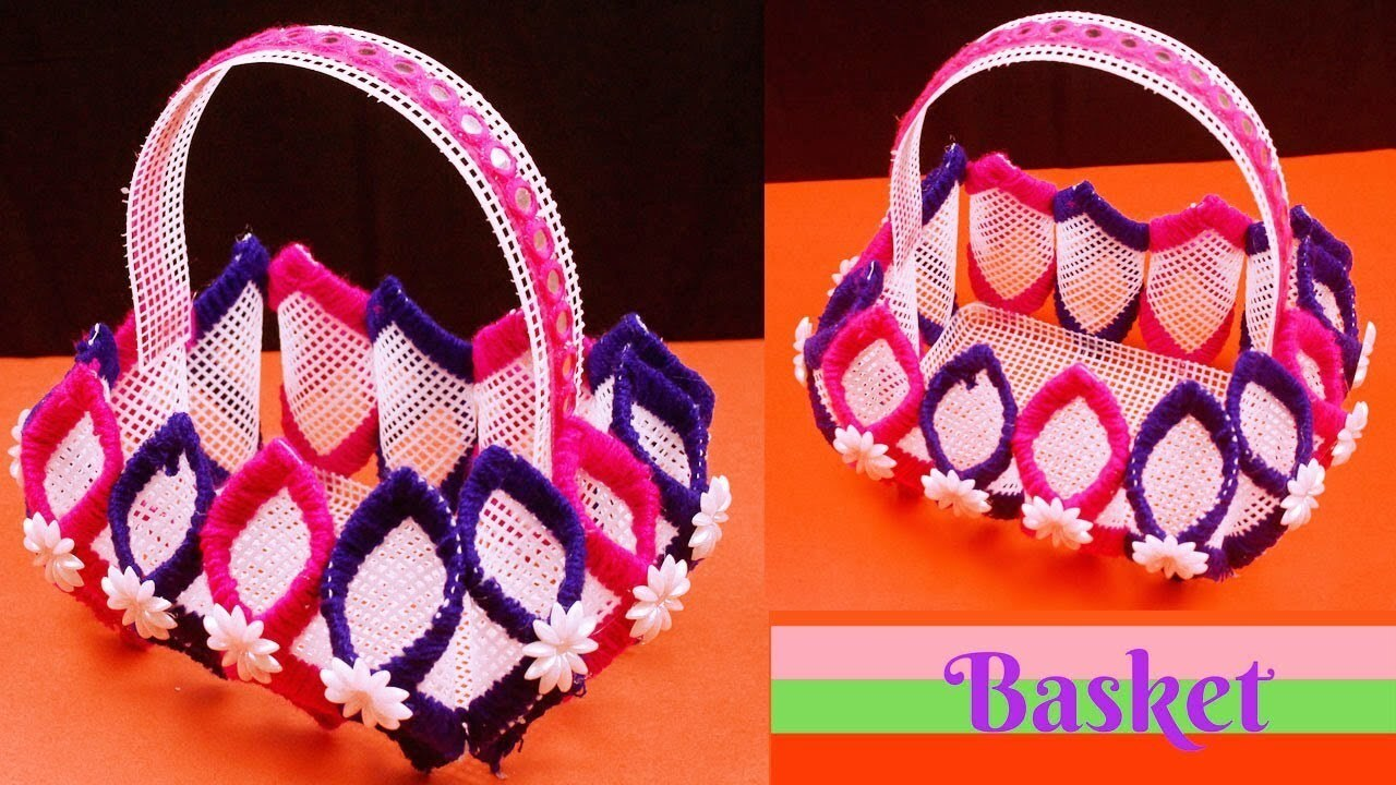 DIY Canvas plastic - Handmade Craft Plastic Canvas Basket - Plastic canvas crafts