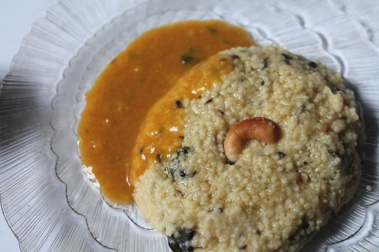 Thinai Kara Pongal Recipe - Foxtail Millet Pongal Recipe