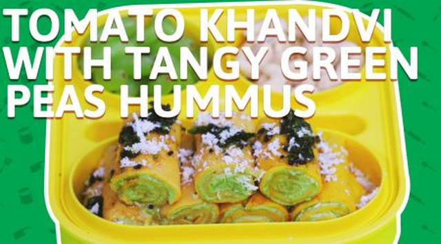 Tomato khandvi with Tangy Green Peas Hummus Recipe