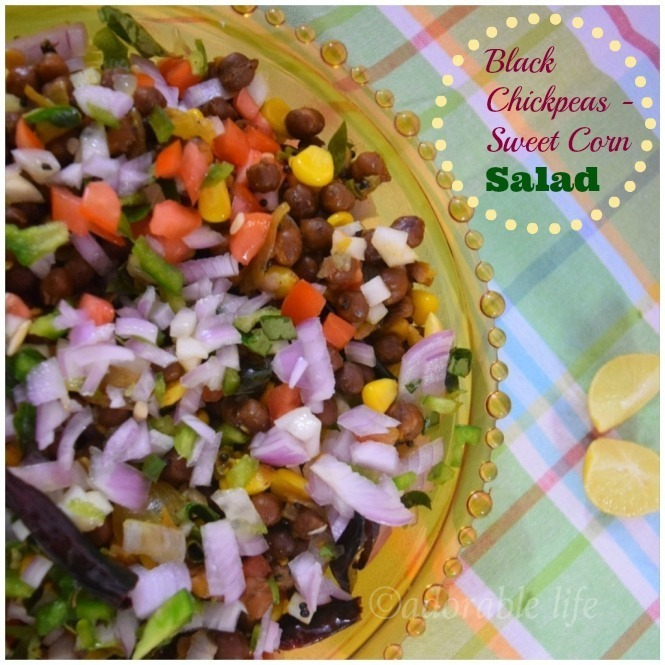 Healthy Black Chickpeas- Sweet Corn Salad