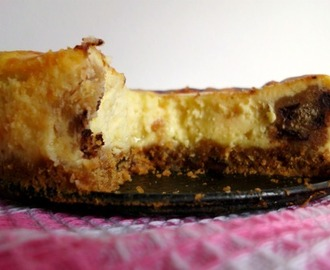 White Chocolate Cookie Dough Cheesecake with a Chocolate Chip Cookie Crust