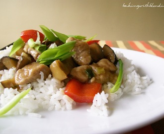 Pork Tenderloin and Bell Pepper Stir Fry with Eggplant