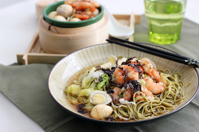 Two for Tea:  Green Tea Soba Noodles and Gunpowder Tea Quail Eggs