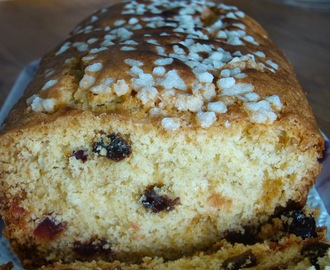 cake aux raisins, cranberries et fruits confits