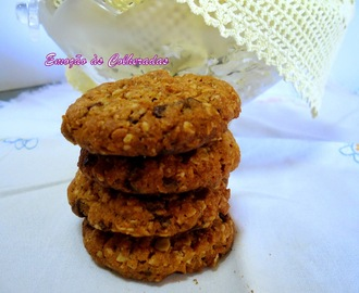 Bolachas de Manteiga de Amendoim, Aveia e Pepitas de Chocolate (Chunky peanut butter and oatmeal chocolate chipsters)