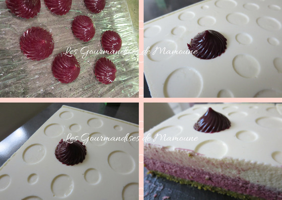 Entremets chocolat blanc, fruits rouges et pistache